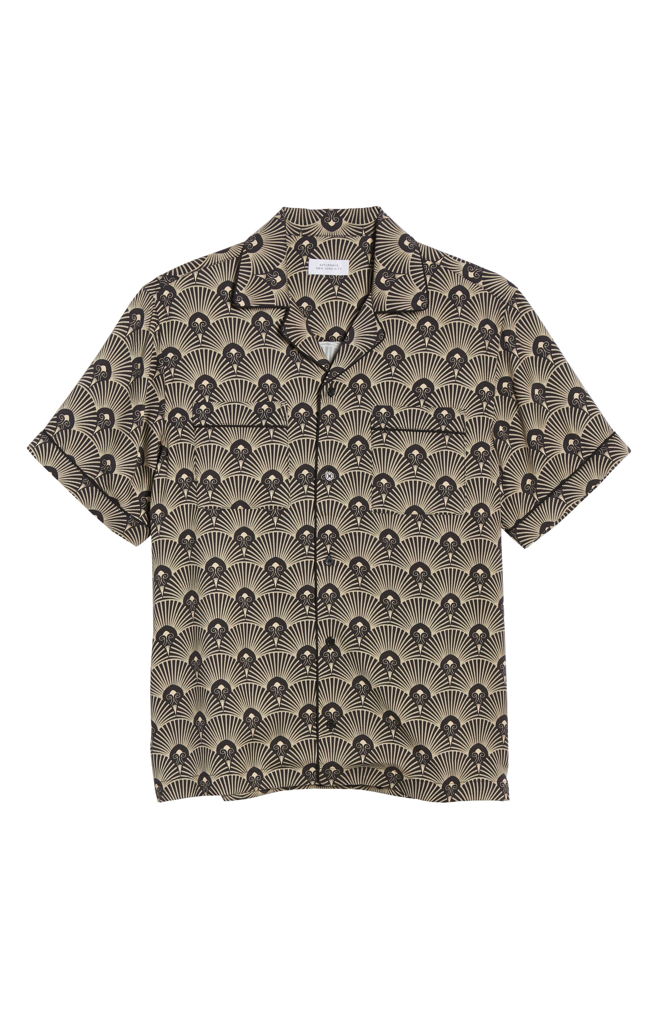 ,                             Cameron Deco Print Camp Shirt,                             Alternate thumbnail 5, color,                             001