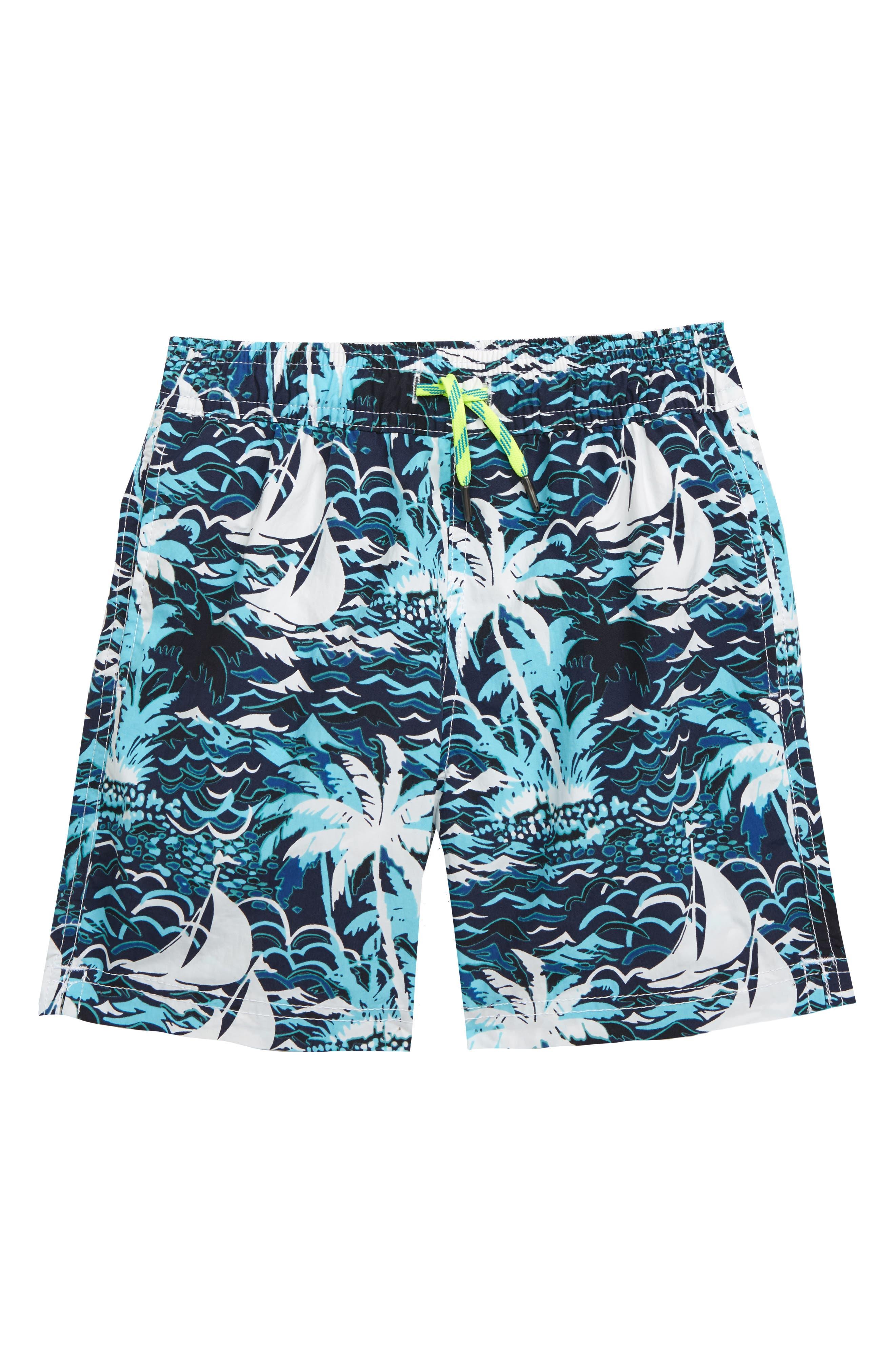 ,                             Sailboats Swim Trunks,                             Main thumbnail 1, color,                             SAILBOAT ISLE BLUE MULTI