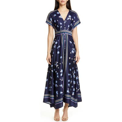 Lela Rose Button Front Handkerchief Hem Maxi Dress, Blue
