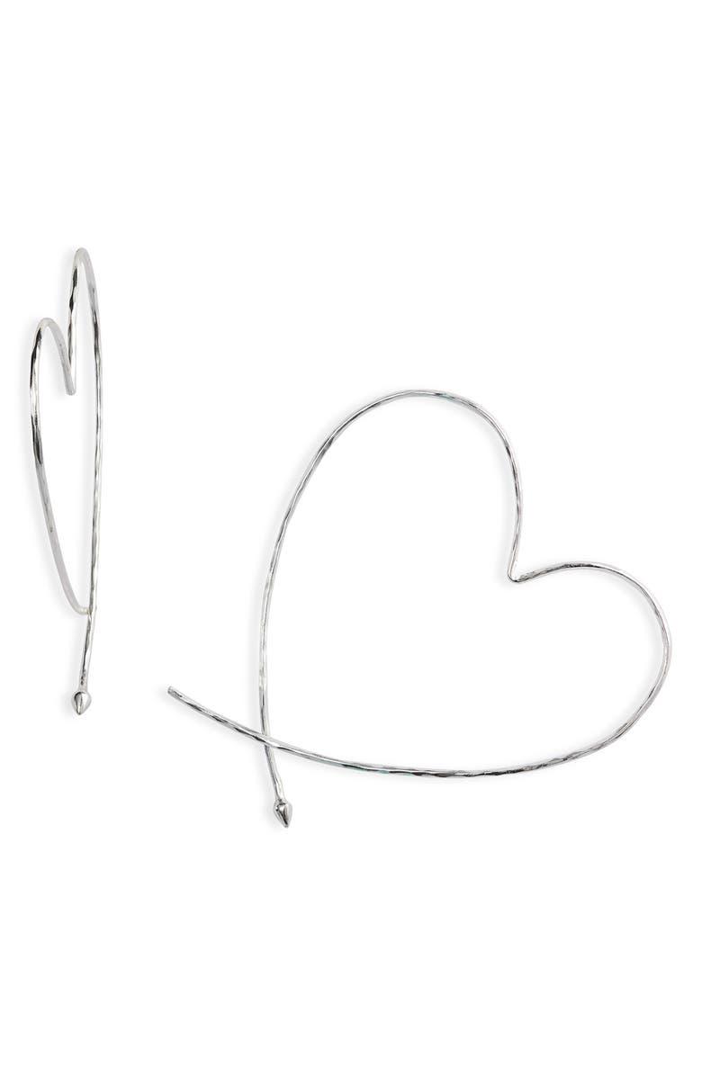 STELLA & DOT Essential Hammered Heart Hoop Earrings, Main, color, SILVER