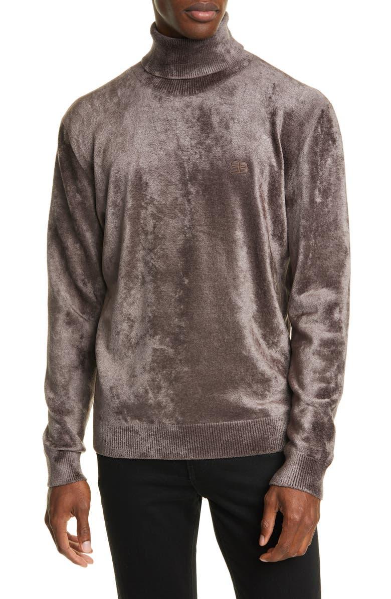 BALENCIAGA Chenille Turtleneck Sweater, Main, color, TAUPE