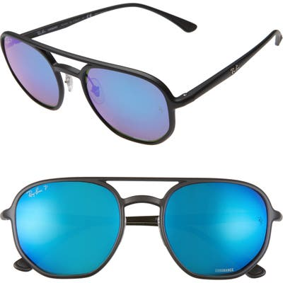 Ray-Ban 5m Chromance Polarized Aviator Sunglasses - Black/ Green Mir Blu Polar