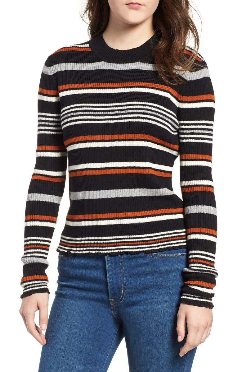 BP. Ribbed Lettuce Edge Stripe Sweater, Main, color, 001
