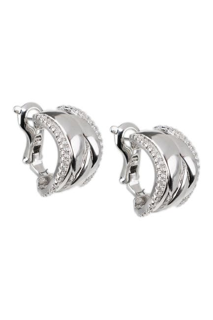 Image of CZ By Kenneth Jay Lane CZ Curved Double Swirl Cuff Earrings