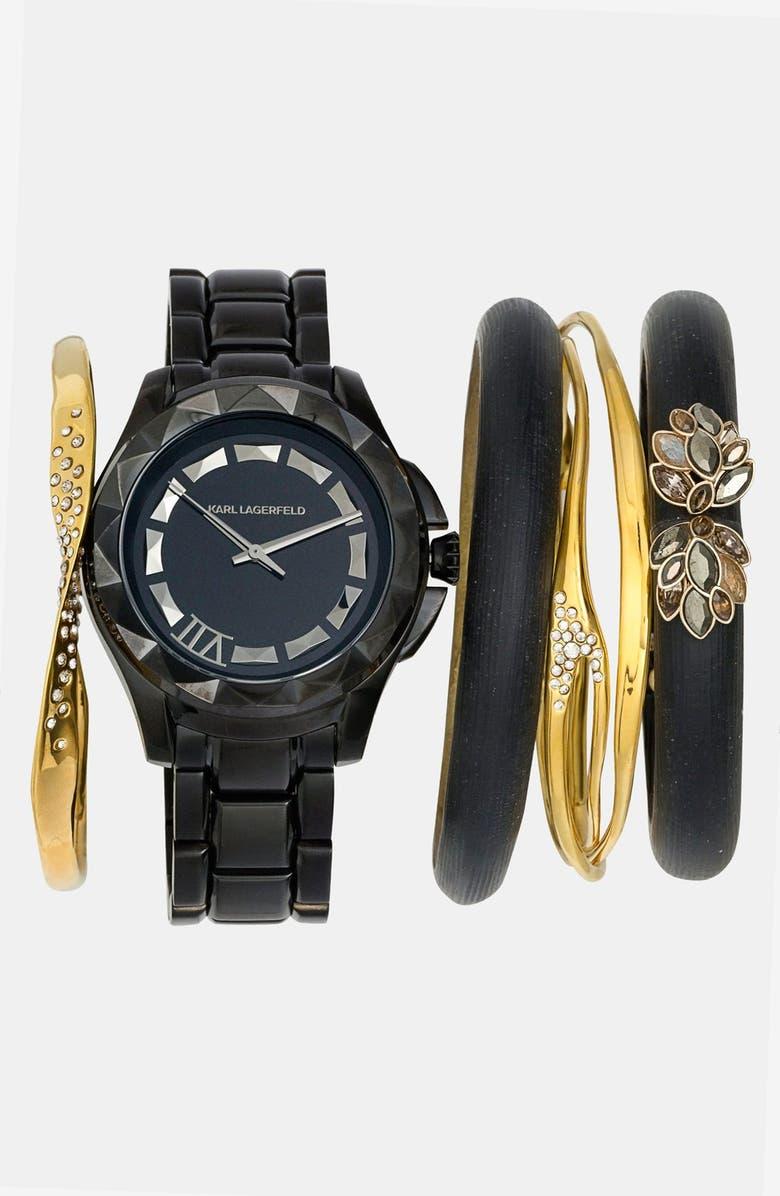 KARL LAGERFELD PARIS KARL LAGERFELD '7' Faceted Bezel Bracelet Watch, 44mm, Main, color, 001