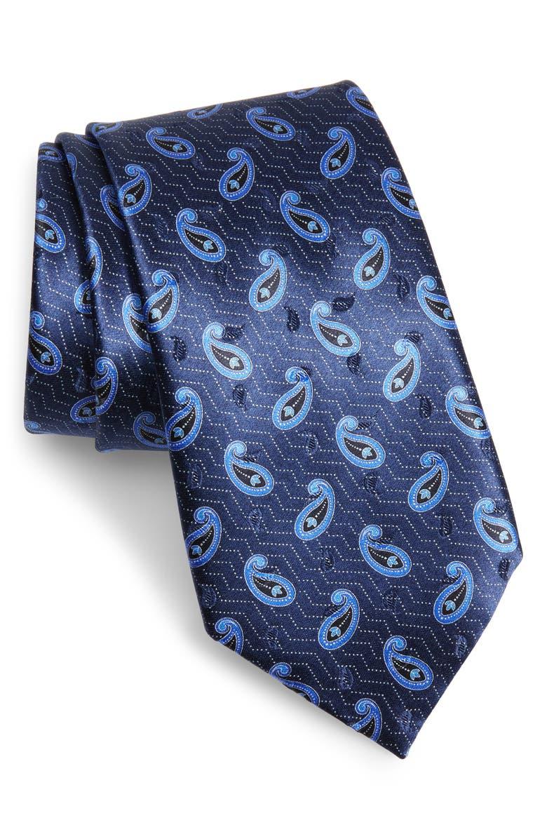 ERMENEGILDO ZEGNA Paisley Silk Tie, Main, color, NAVY FAN