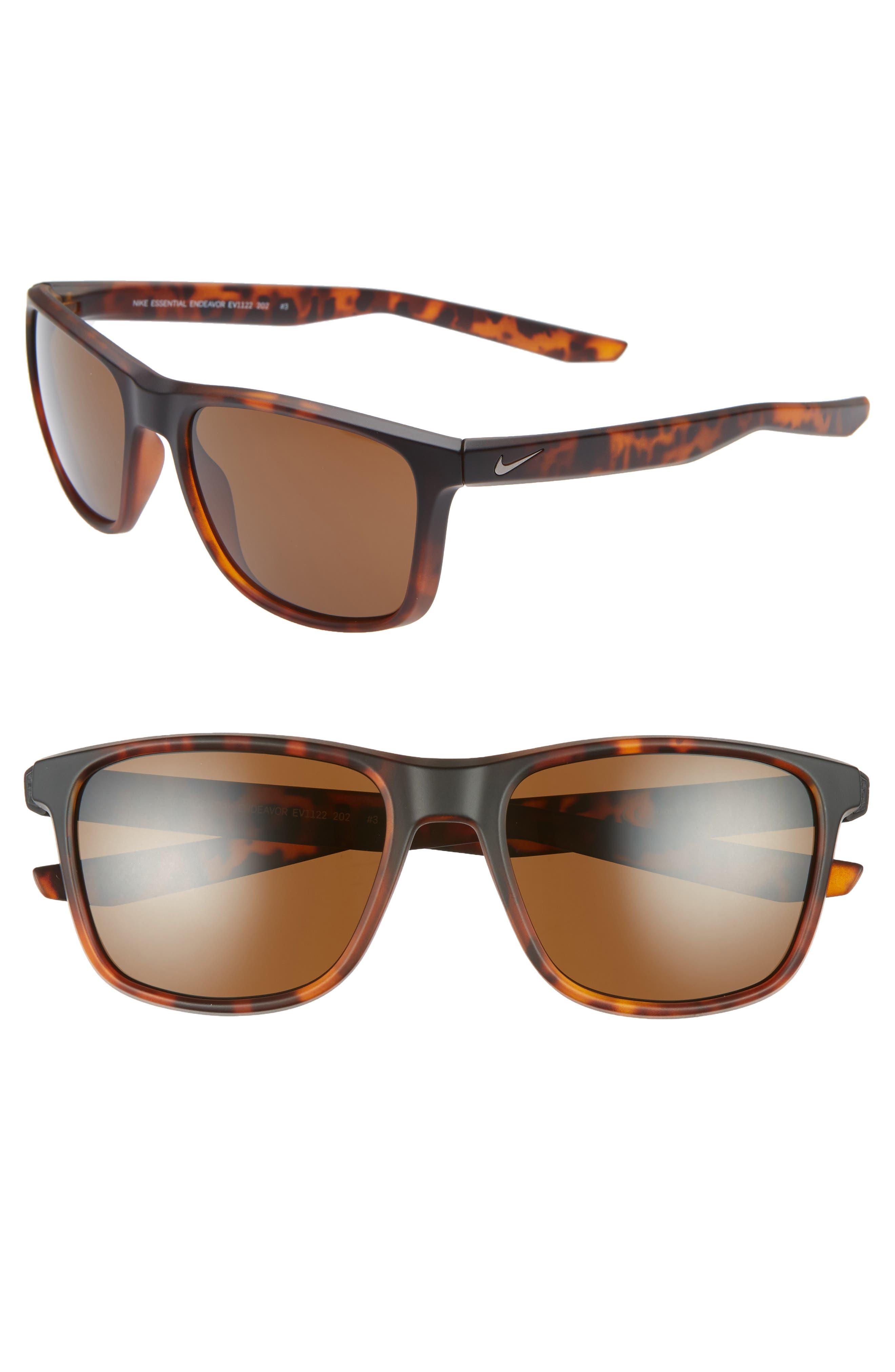 Nike Essential Endeavor 57Mm Square Sunglasses - Matte Tortoise/ Brown