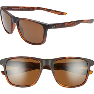 Nike Essential Endeavor 57Mm Square Sunglasses - Matte Tortoise/ Brown