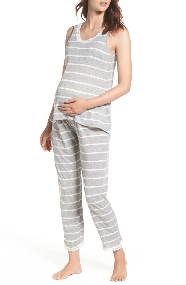 BELABUMBUM Maternity/Nursing Tank Pajamas, Main, color, GREY STRIPE