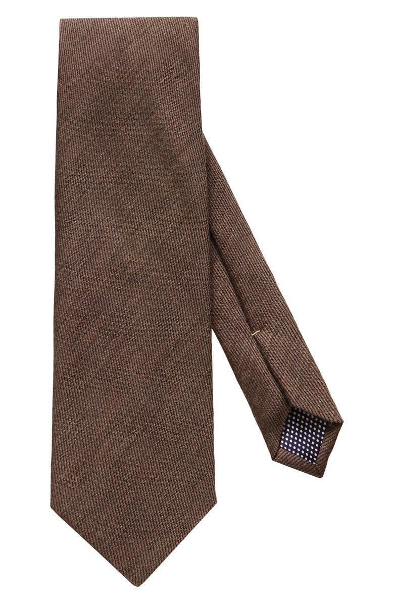 ETON Solid Wool Blend Tie, Main, color, BROWN