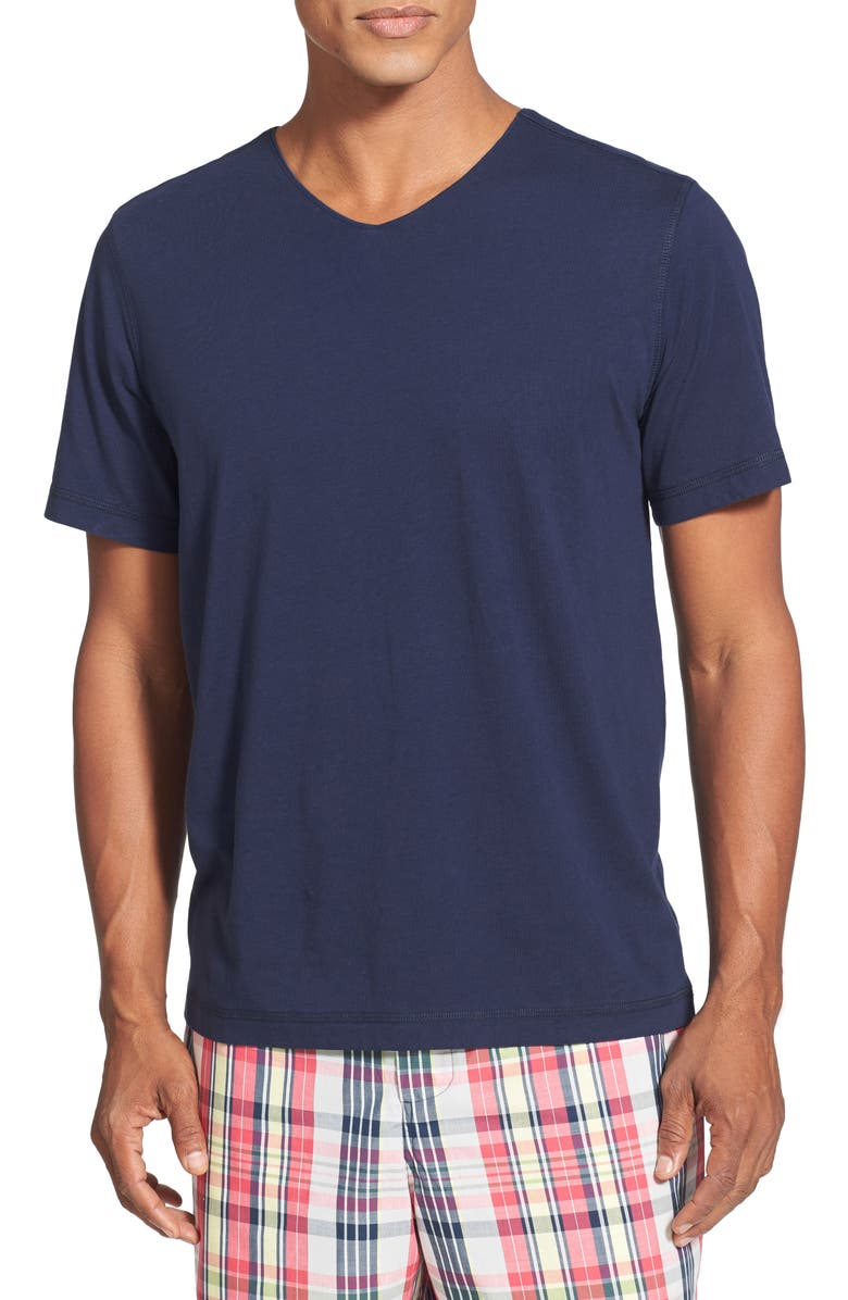 DANIEL BUCHLER V-Neck Peruvian Pima Cotton T-Shirt, Main, color, NAVY