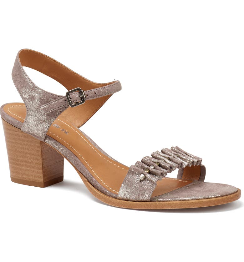 TRASK Carrie Metallic Quarter Strap Sandal, Main, color, PEWTER METALLIC SUEDE