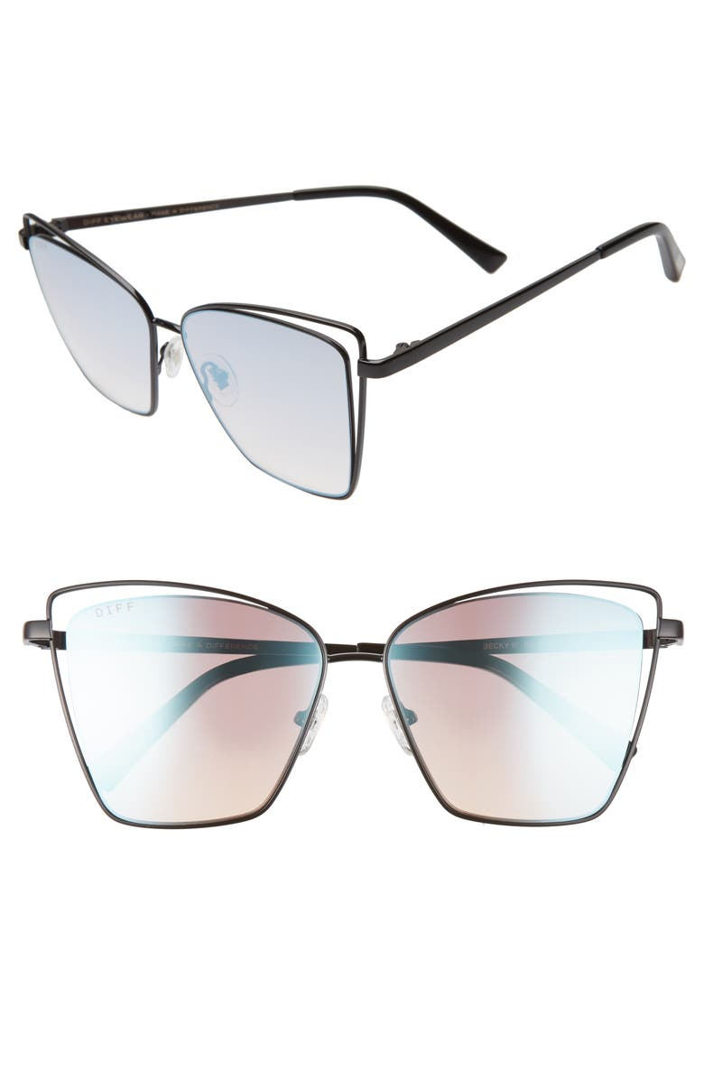 DIFF Becky III 57mm Sunglasses, Main, color, BLACK/ BLUE