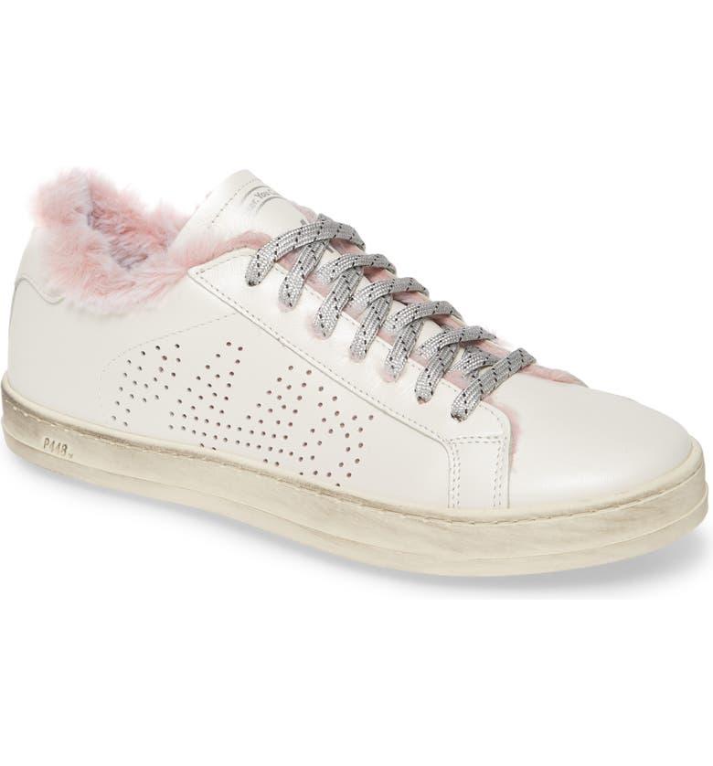 P448 John Faux Fur Trim Sneaker, Main, color, 100