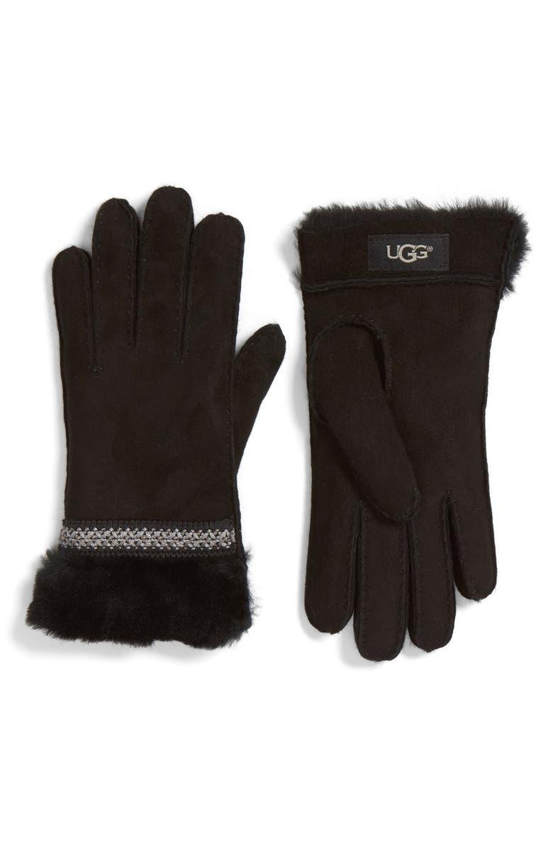 UGG<SUP>®</SUP> Classic Tasman Genuine Shearling Gloves, Main, color, 001