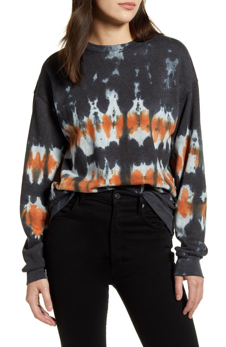 TREASURE & BOND Tie Dye Cotton Blend Sweatshirt, Main, color, CHARCOAL- ORANGE COMBO