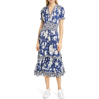 Polo Ralph Lauren Tiered Floral Midi Dress, Blue