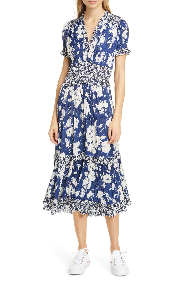 POLO RALPH LAUREN Tiered Floral Midi Dress, Main, color, ROYAL/ NAVY FLORAL MULTI