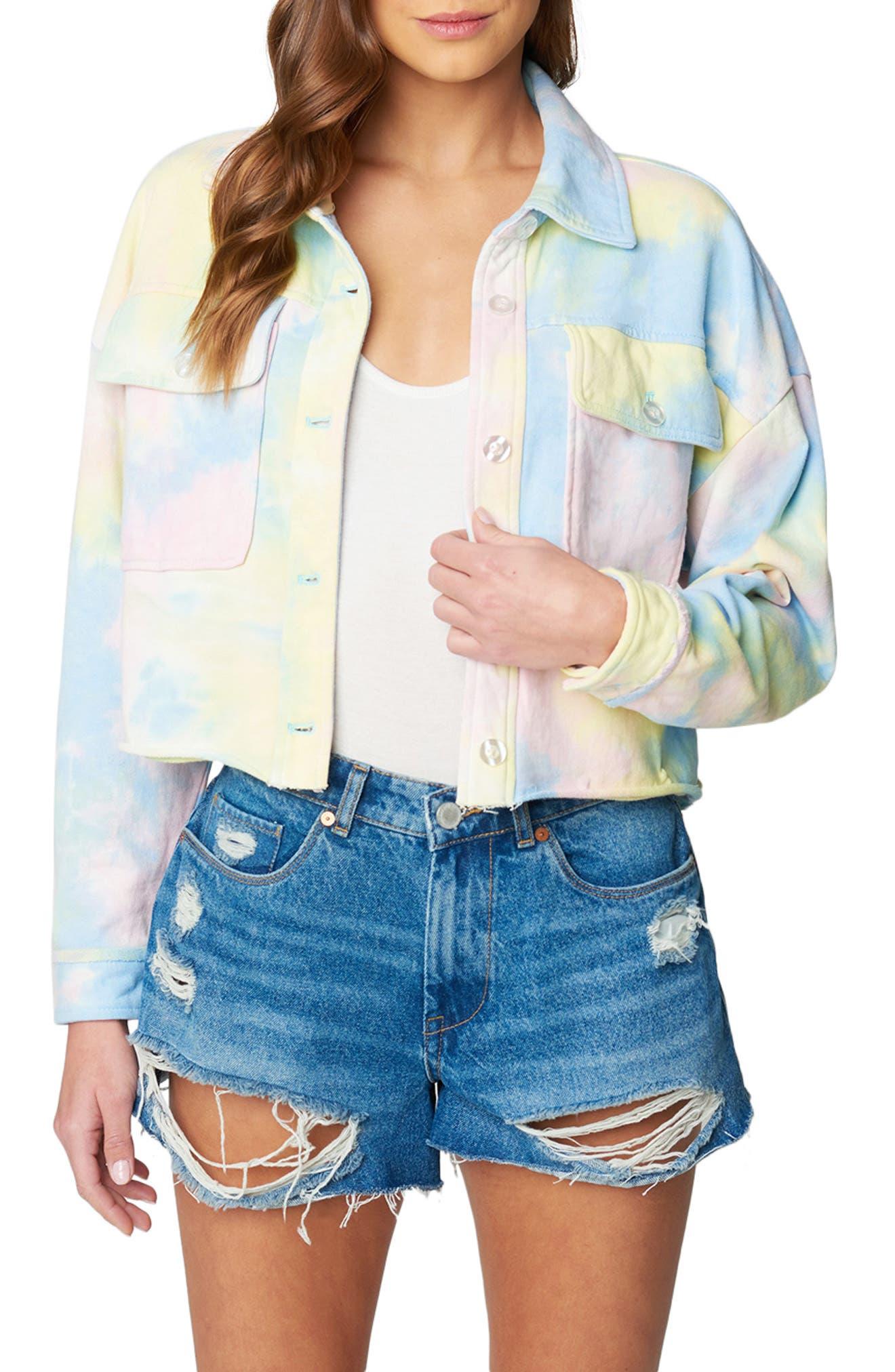 Women's Blanknyc Tie Dye French Terry Trucker Jacket, Size Medium - Yellow