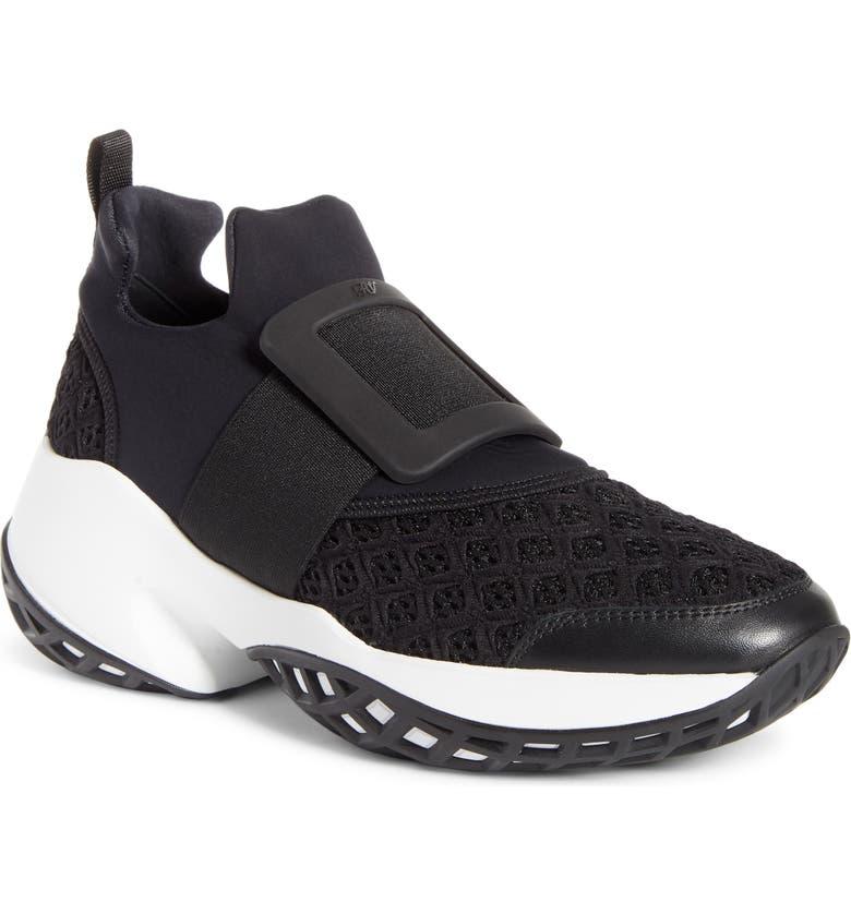 ROGER VIVIER Viv Run Slip-On Sneaker, Main, color, BLACK