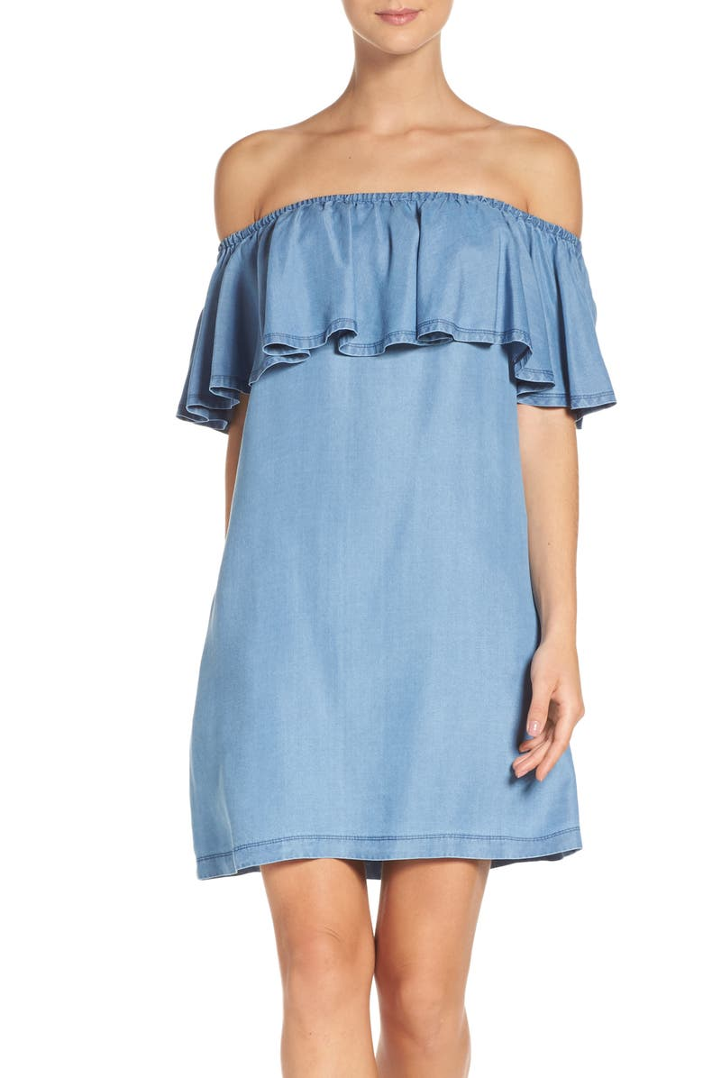 CHELSEA28 Ruffle Chambray Off the Shoulder Dress, Main, color, 420