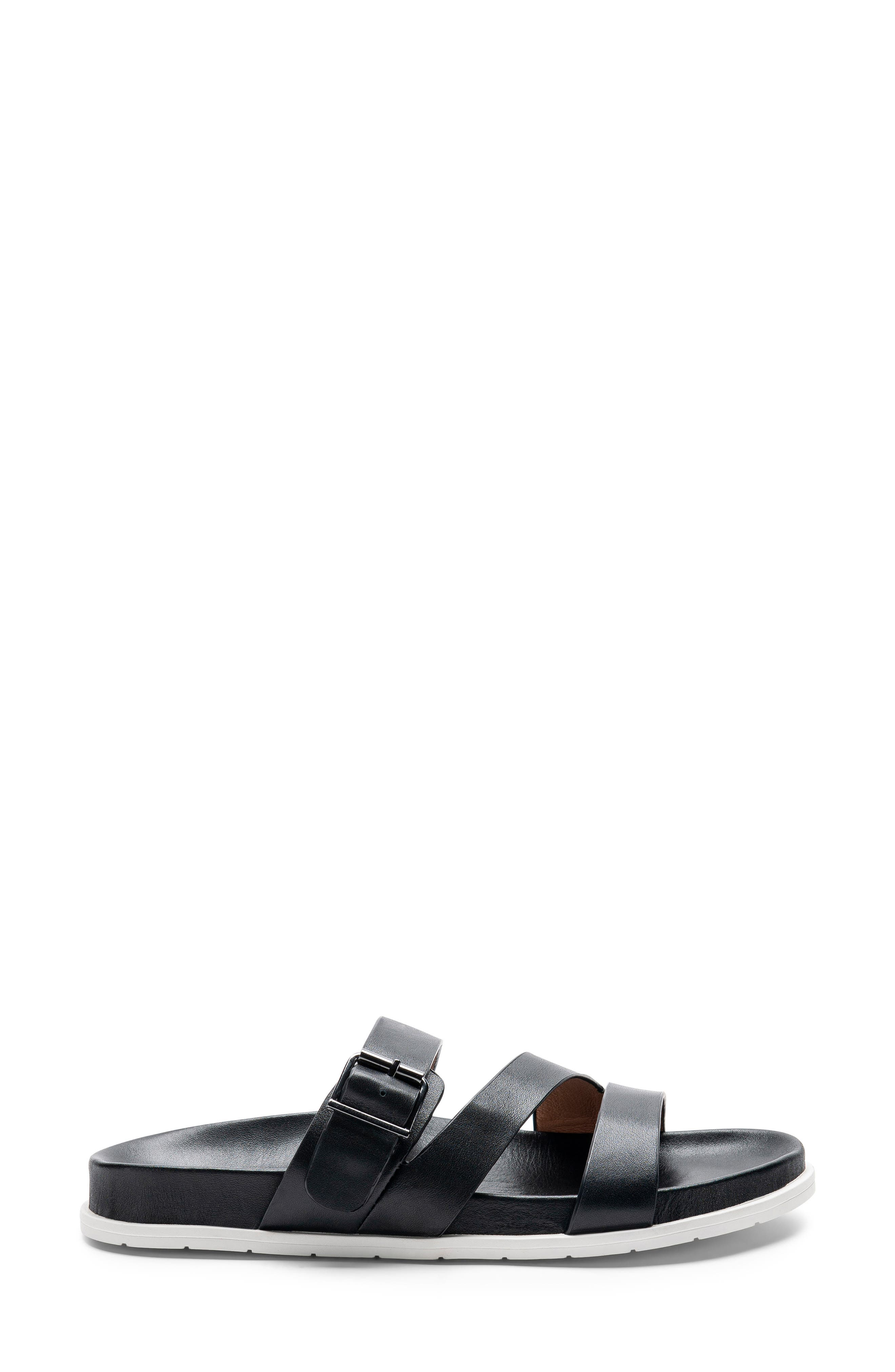 ,                             Selma Waterproof Slide Sandal,                             Alternate thumbnail 3, color,                             BLACK LEATHER