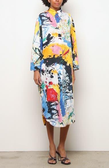 Paint Print Long Sleeve Midi Dress, video thumbnail