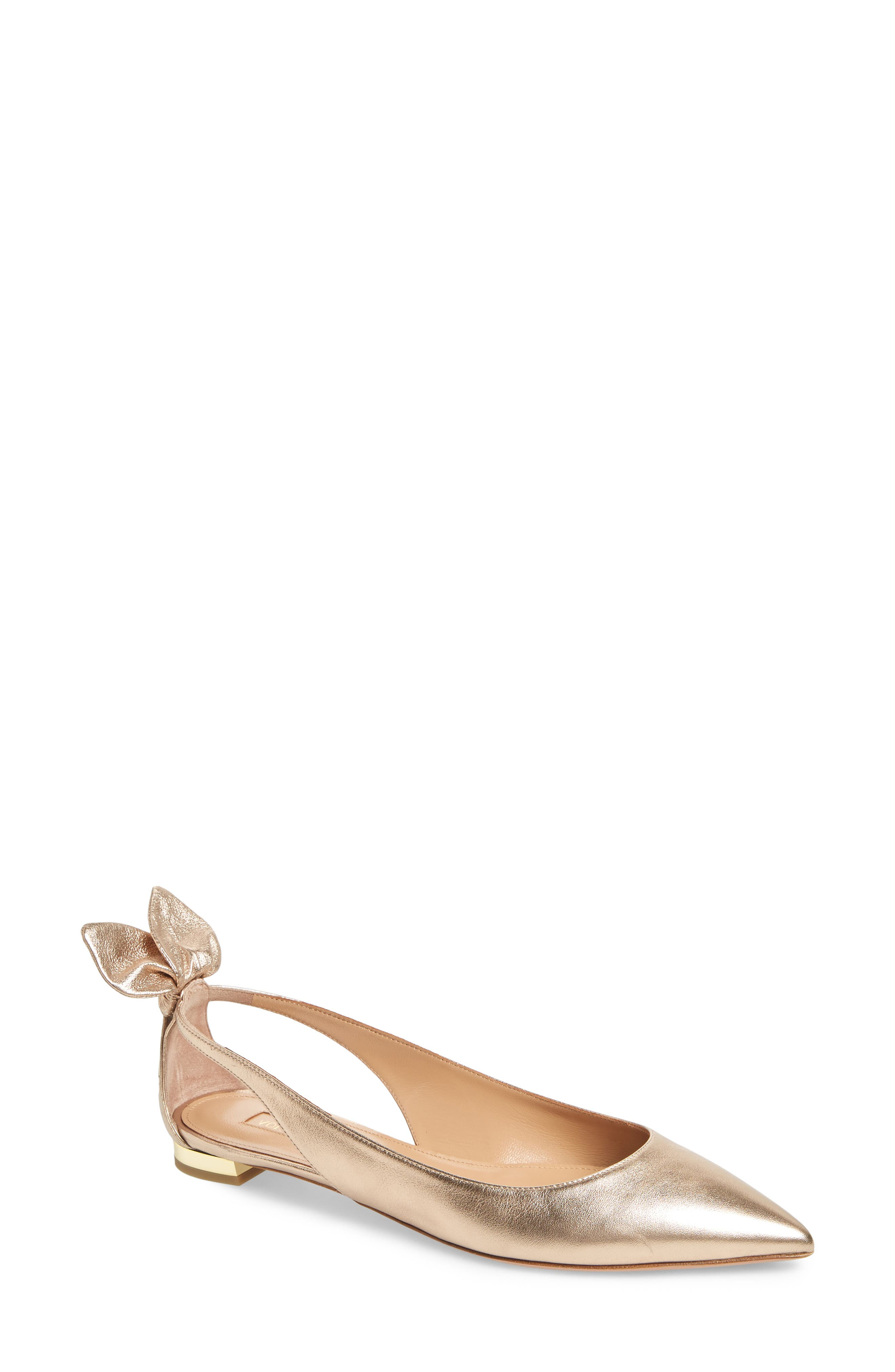 Aquazzura Deneuve Bow Pointy Toe Flat - Metallic