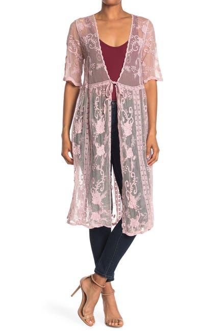 Image of Forgotten Grace Crochet Lace Tie Front Duster