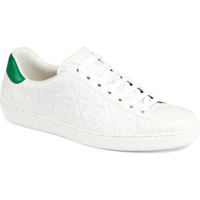 Gucci New Ace G Rhombus Quilted Sneaker, White