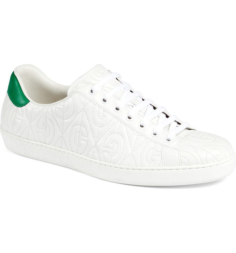 GUCCI New Ace G Rhombus Quilted Sneaker, Main, color, GREAT WHITE