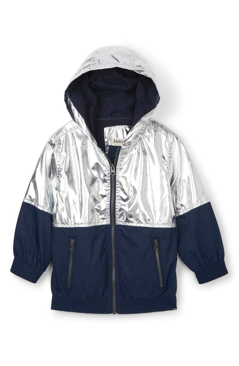 HATLEY Metallic Moonbeam Water Resistant Hooded Jacket, Main, color, GREY