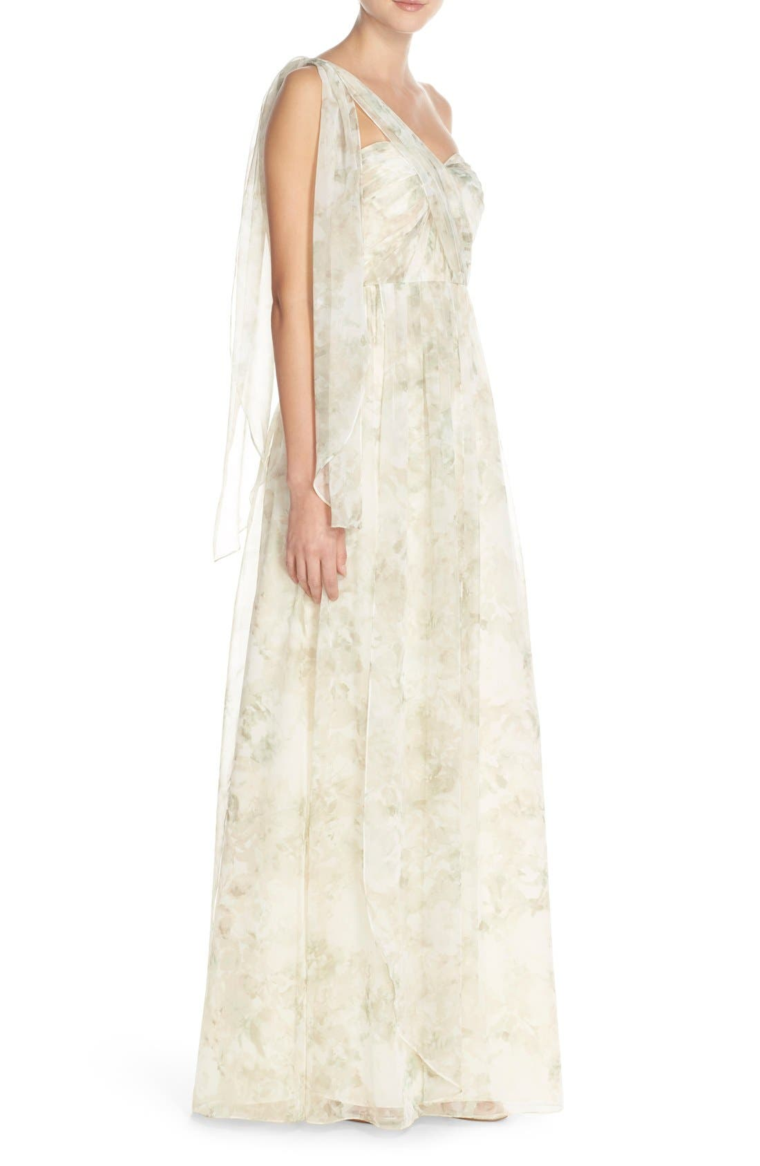 ,                             Nyla Floral Print Convertible Strapless Chiffon Gown,                             Alternate thumbnail 9, color,                             060