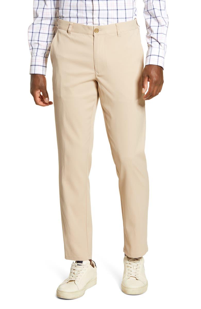 MIZZEN+MAIN Baron Trim Fit Performance Chino Pants, Main, color, SAND SOLID