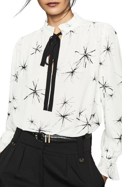Reiss Tops TWINKLE PRINT TIE NECK TOP