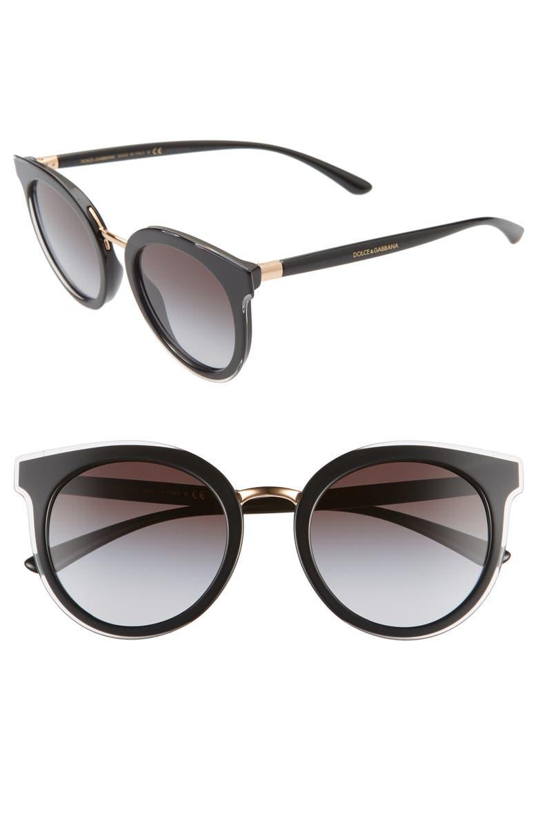 DOLCE&GABBANA 52mm Polarized Round Cat Eye Sunglasses, Main, color, BLACK/ BLACK GRADIENT