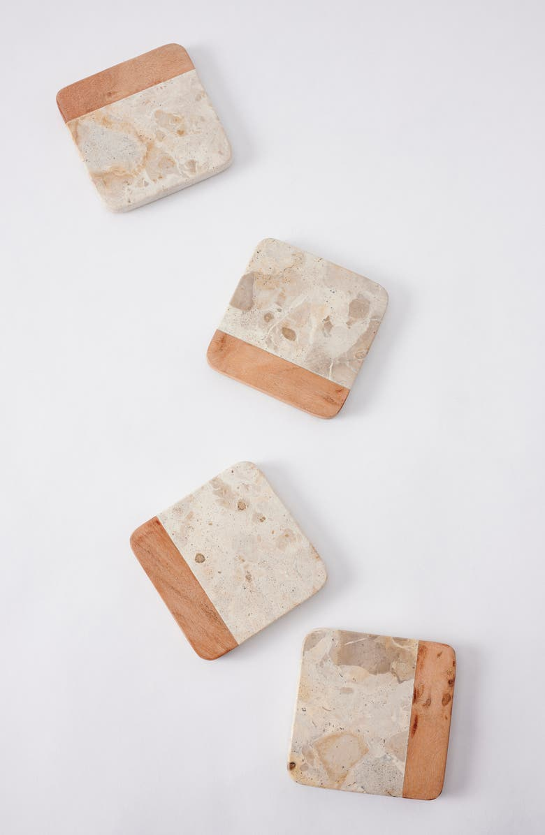 ANTHROPOLOGIE HOME Home Bessie Set of 4 Coasters, Main, color, NEUTRAL