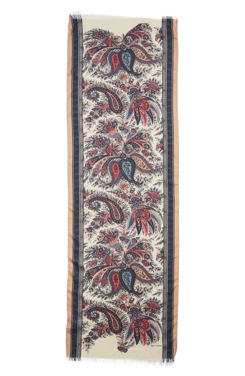 ETRO Calcutta Paisley Swirl Cashmere & Silk Scarf, Main, color, BEIGE MULTI