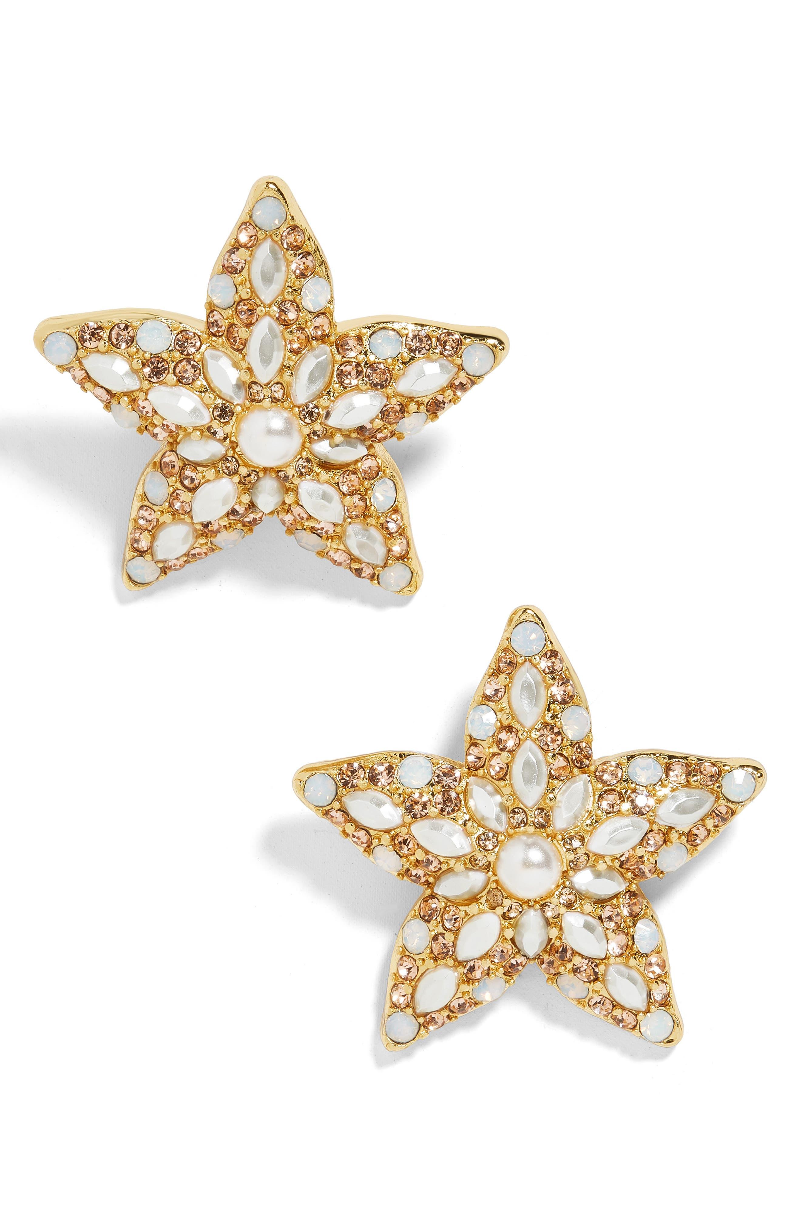 Petrina Starfish Earrings, Main, color, GOLD
