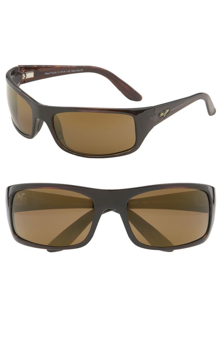 MAUI JIM 'Peahi - PolarizedPlus<sup>®</sup>2' 67mm Sunglasses, Main, color, TORTOISE / HCL BRONZE LENS