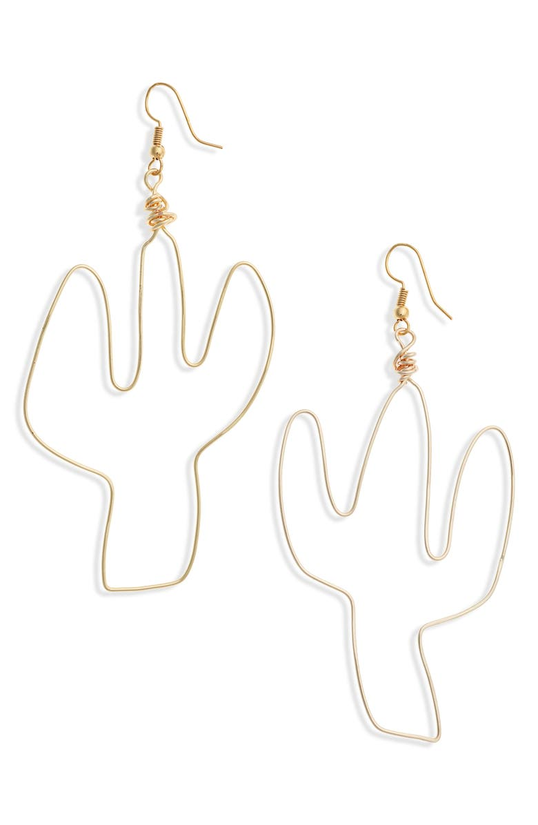 ALL THE WIRE Cactus Earrings, Main, color, GOLD