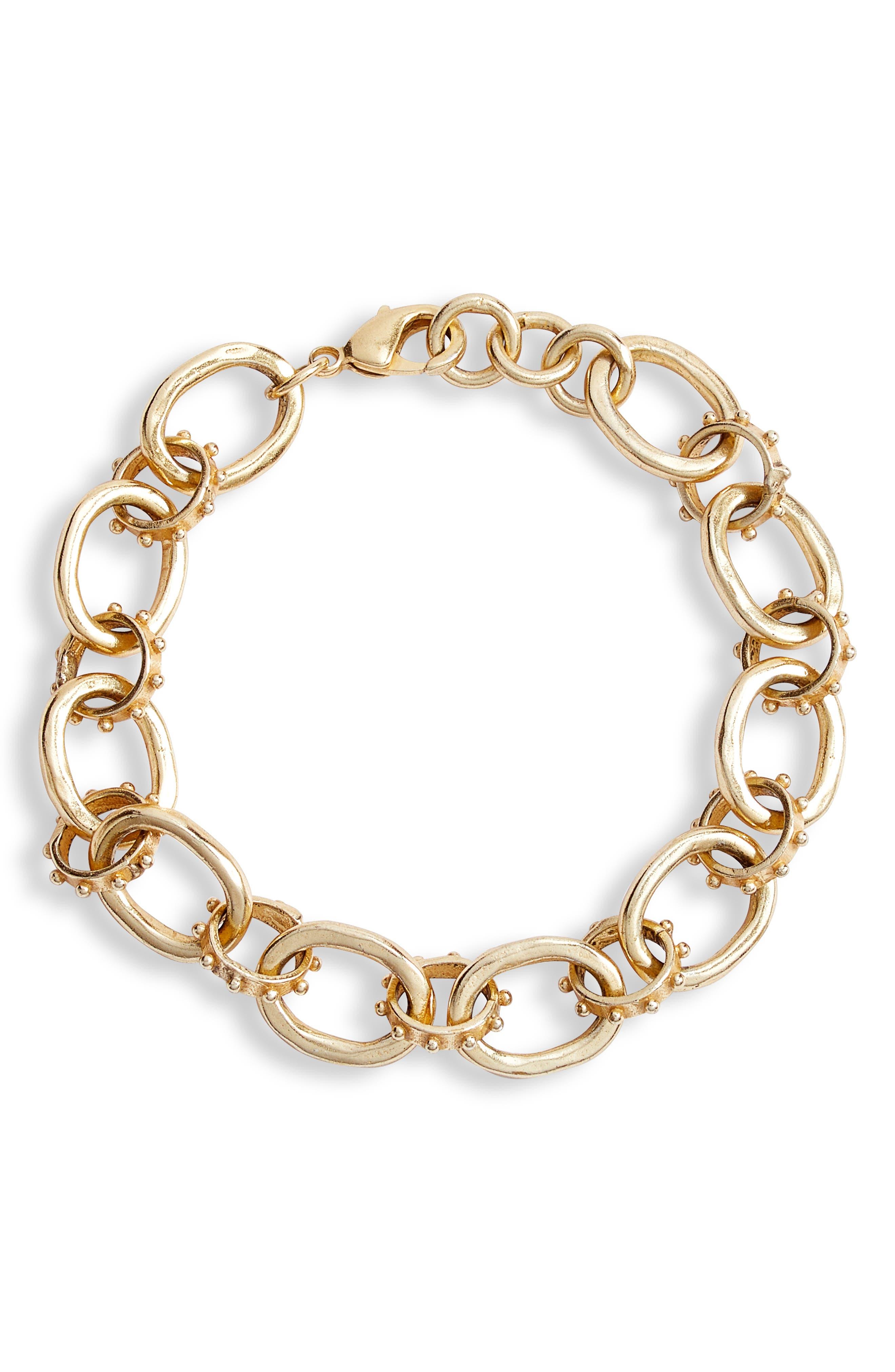 Collections by Joya Ada Sterling Silver Link Bracelet in Gold at Nordstrom