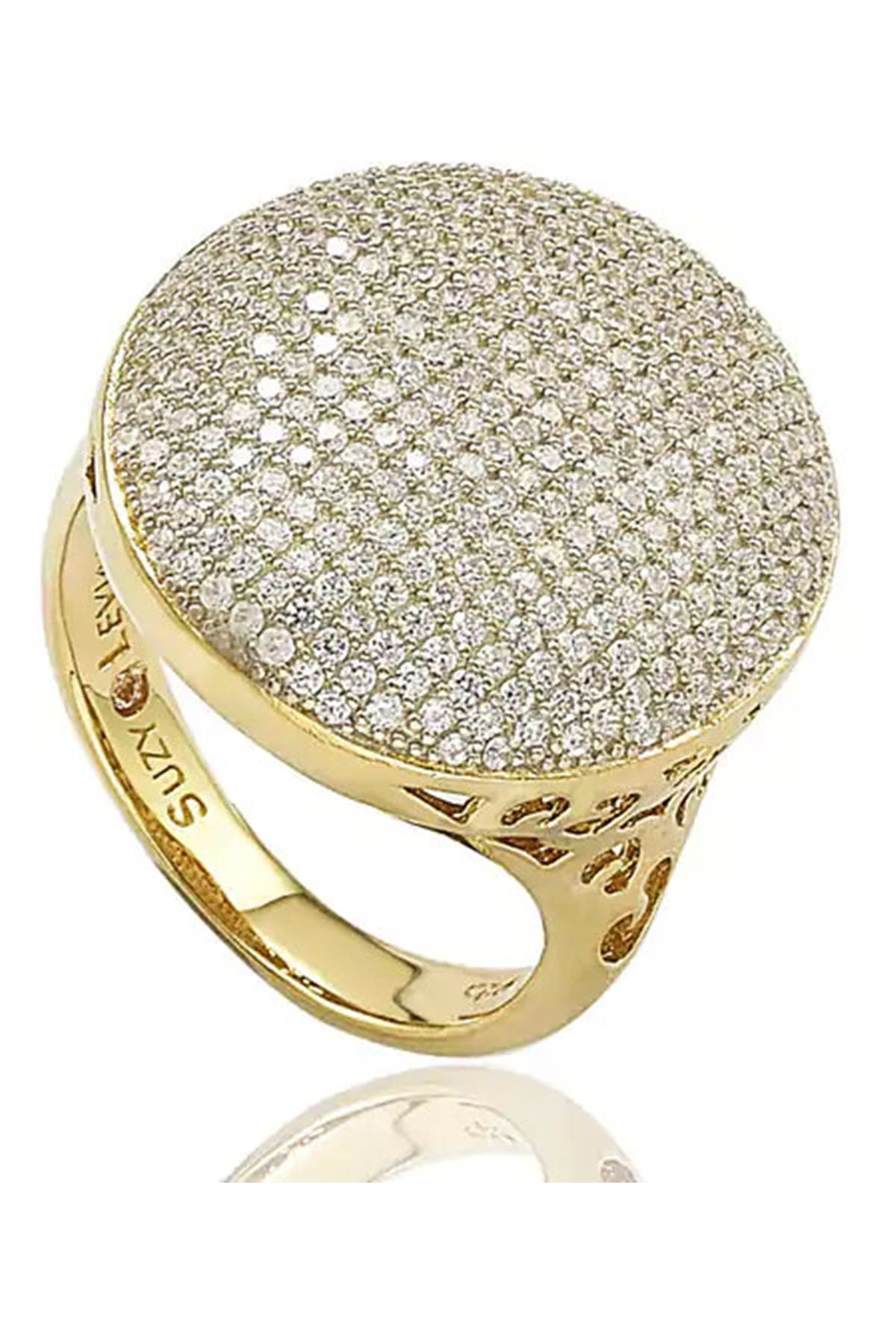 Image of Suzy Levian Round Pave CZ Statement Ring
