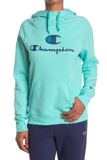 Image of Champion Powerblend Logo Pullover Hoodie