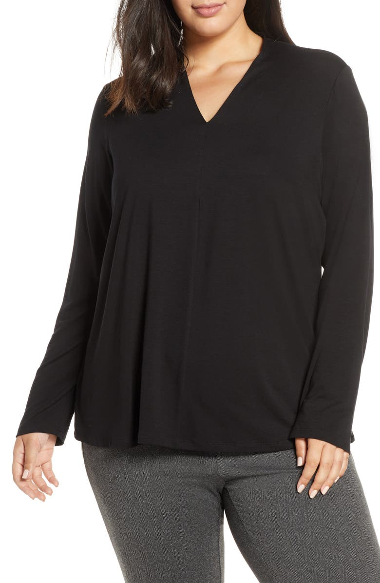 EILEEN FISHER V-Neck Stretch Tencel<sup>®</sup> Lyocell Top, Main, color, 001