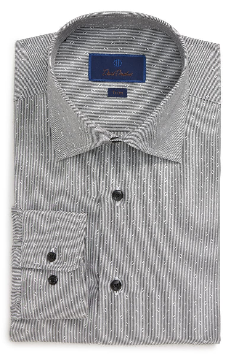 DAVID DONAHUE Trim Fit Stripe Dress Shirt, Main, color, WHITE/ BLACK