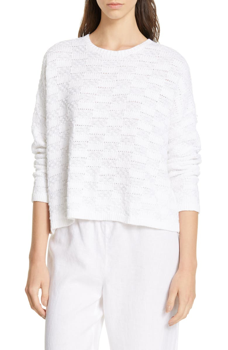 EILEEN FISHER Milano Stitch Sweater, Main, color, 100