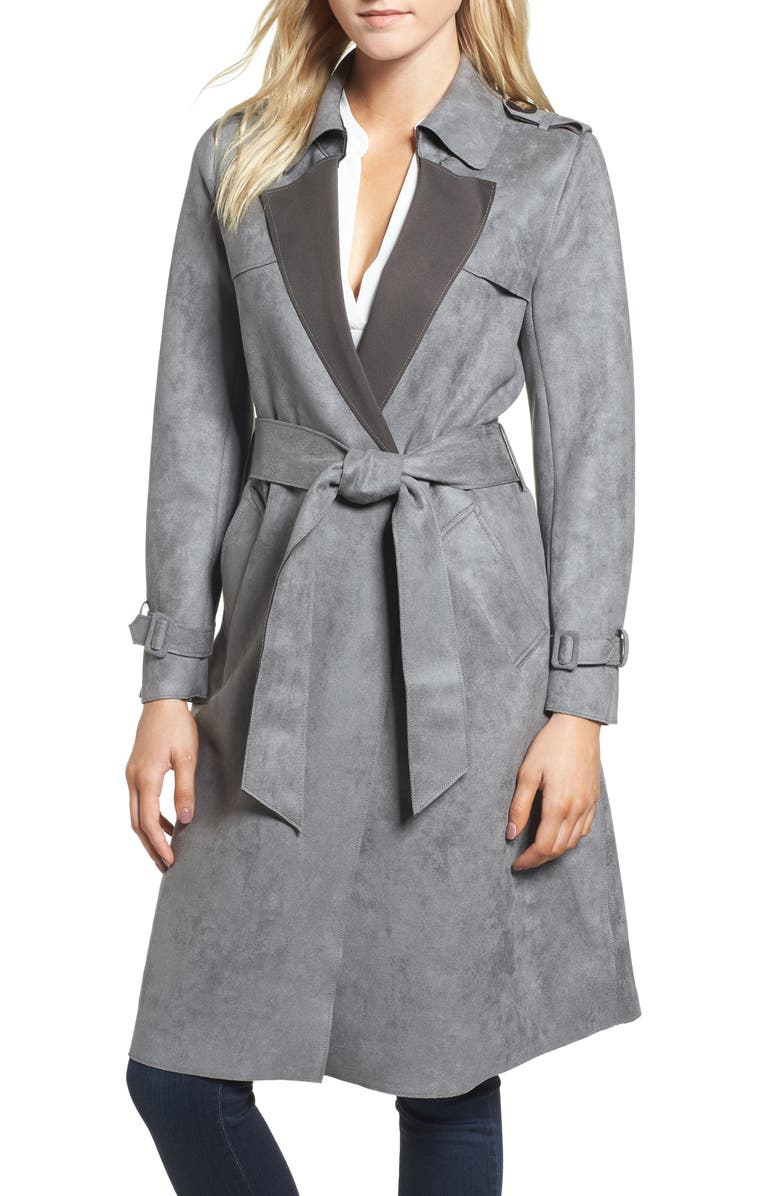 LOVE TOKEN Faux Suede Long Trench Coat, Main, color, 030