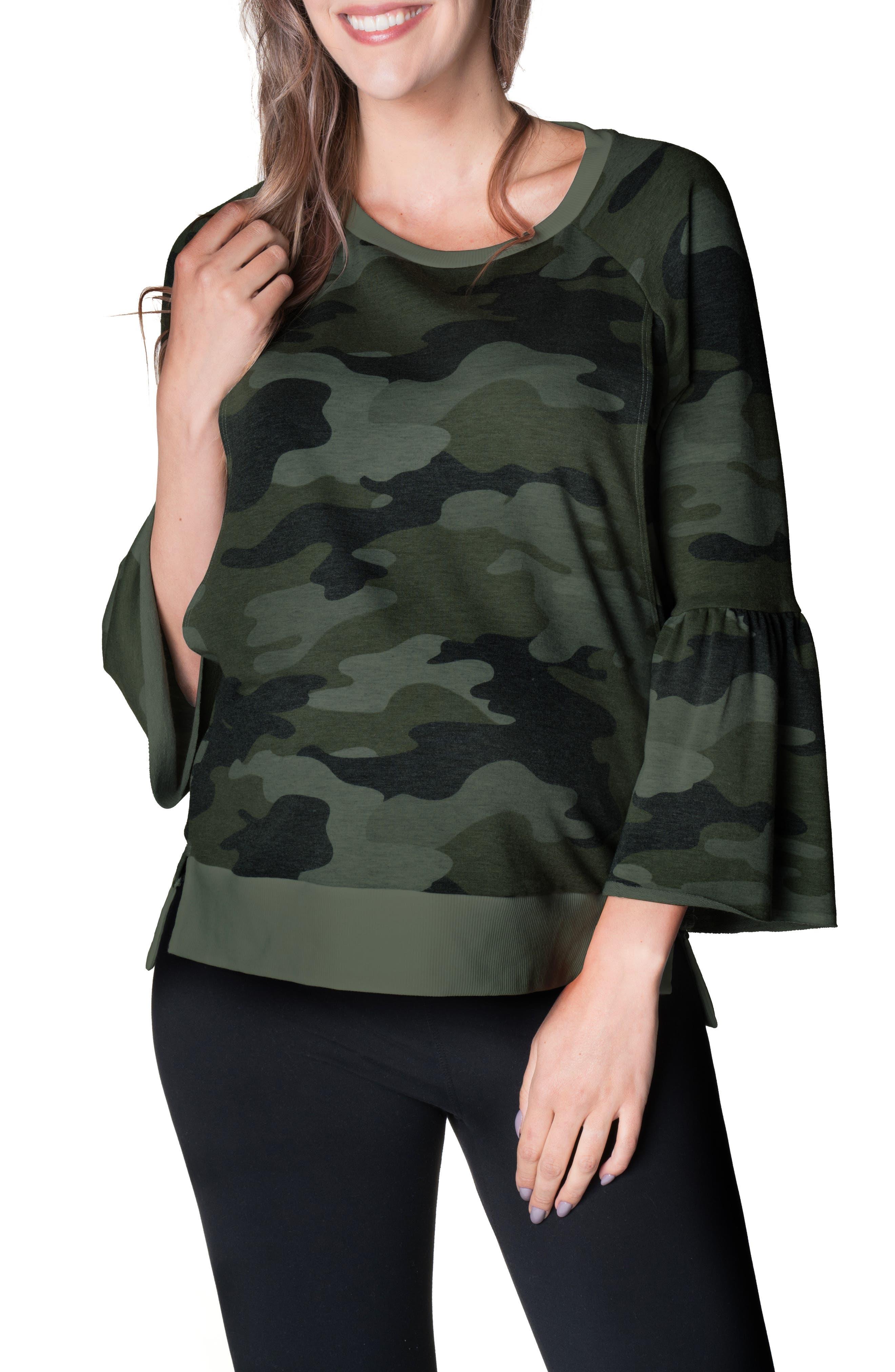 Camo Bell Sleeve Maternity/nursing Top