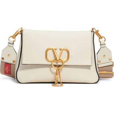Valentino Garavani Small V-Ring Leather Shoulder Bag - Ivory